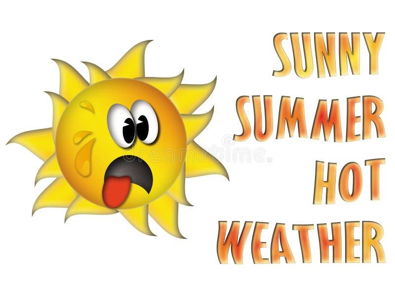 Zonnig de zomer heet weer met grappige zon royalty-vrije stock foto