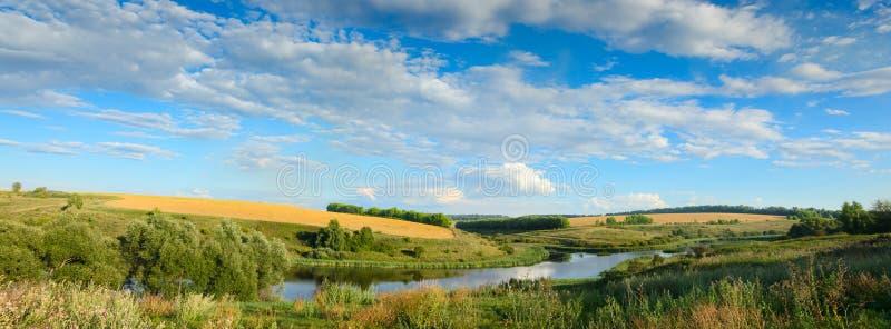 Zonnig de zomerpanorama met rivier, gouden tarwegebieden, groene heuvels en mooie pluizige wolken in blauwe hemel bij zonsonderga stock foto