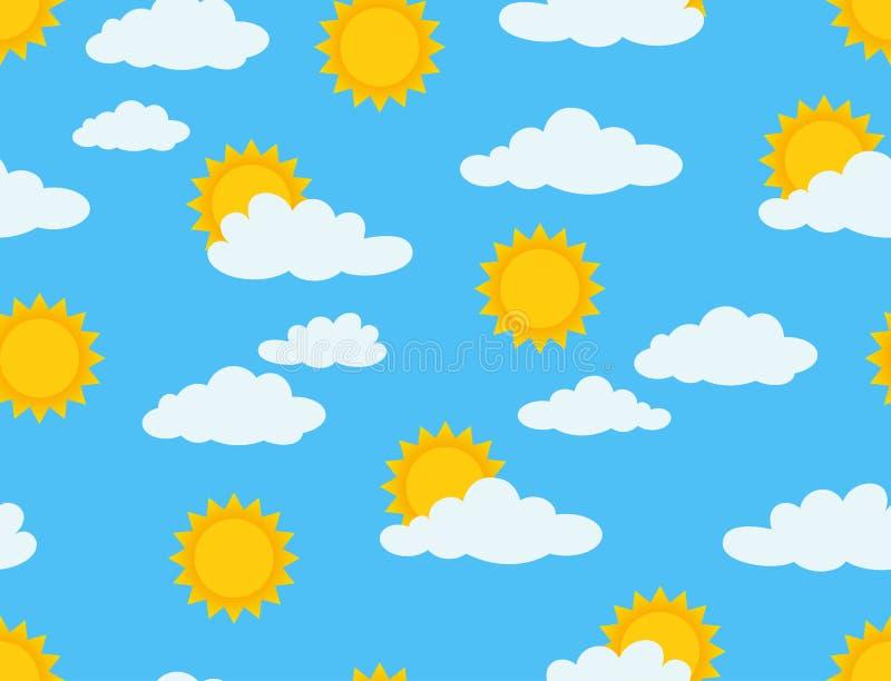 zonnig en bewolkt naadloos patroon op blauwe hemelachtergrond vector illustratie