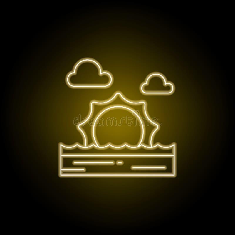Zonnig, heet, overzees, strand, het pictogram van de zonsonderganglijn in gele neonstijl Element van landschappenillustratie Teke royalty-vrije illustratie