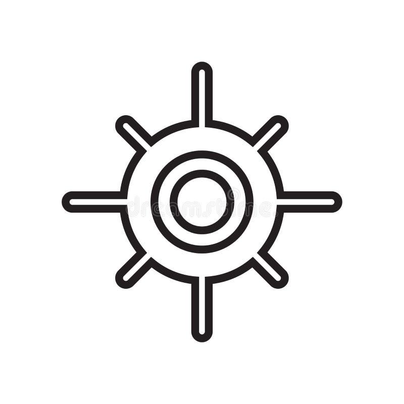 Zonnig pictogram vectordieteken en symbool op witte achtergrond wordt geïsoleerd stock illustratie