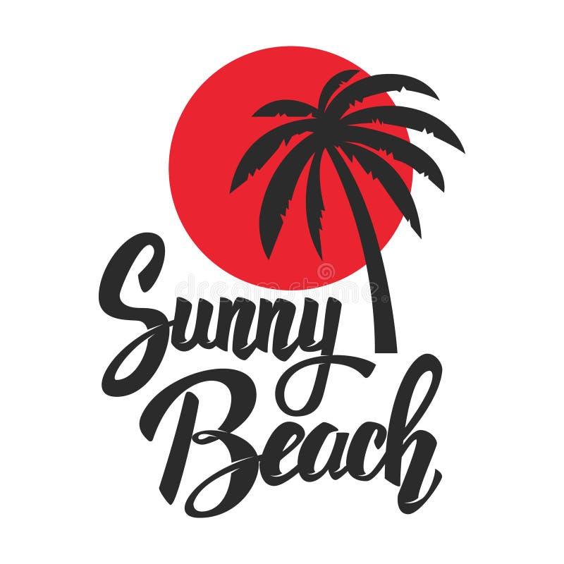 Zonnig strand Het van letters voorzien uitdrukking met palmpictogram Ontwerpelement voor affiche, embleem, t-shirt stock illustratie