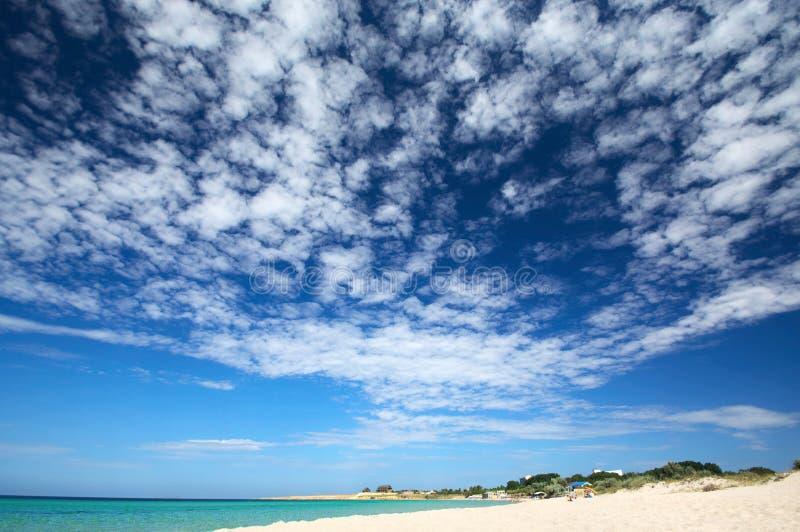 Zonnig strand met toneelhemel stock afbeeldingen