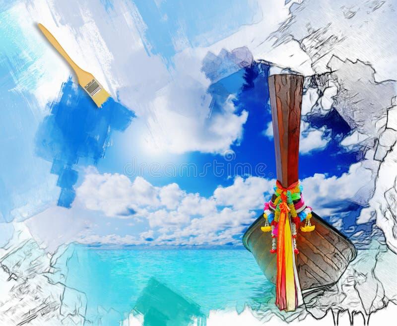 Zonnig tropisch strand op het eiland royalty-vrije illustratie