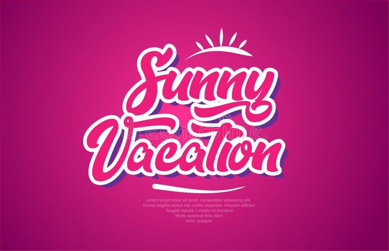 zonnig van de de teksttypografie van het vakantiewoord roze het ontwerppictogram stock illustratie