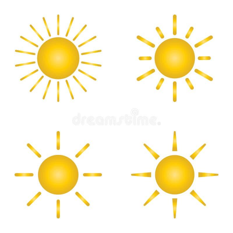 Zonnig weerpictogram, de reeks van het zonpictogram Vectorillustratie, vlak ontwerp stock illustratie