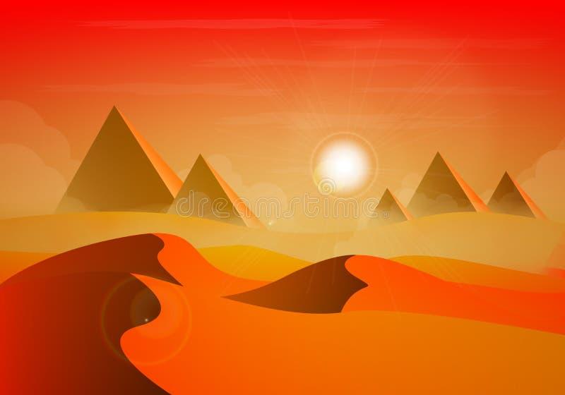 Zonnig woestijnlandschap vector illustratie