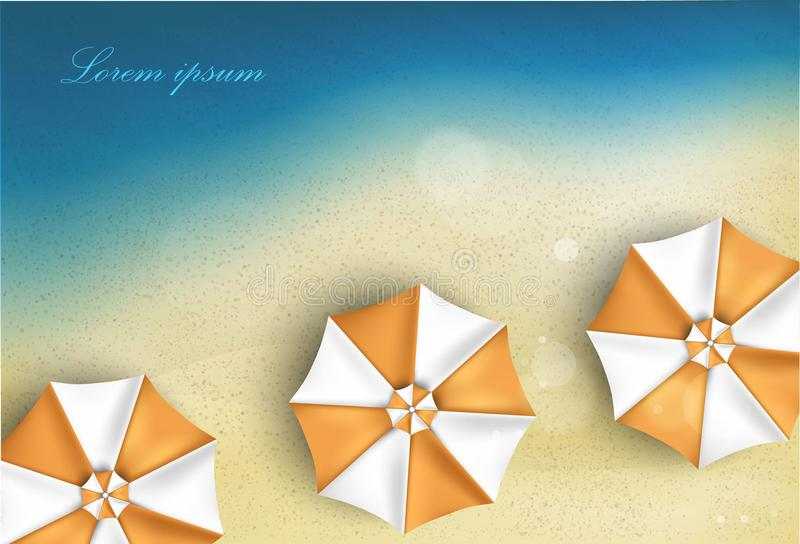 Zonnig zandig strand met paraplu vector illustratie