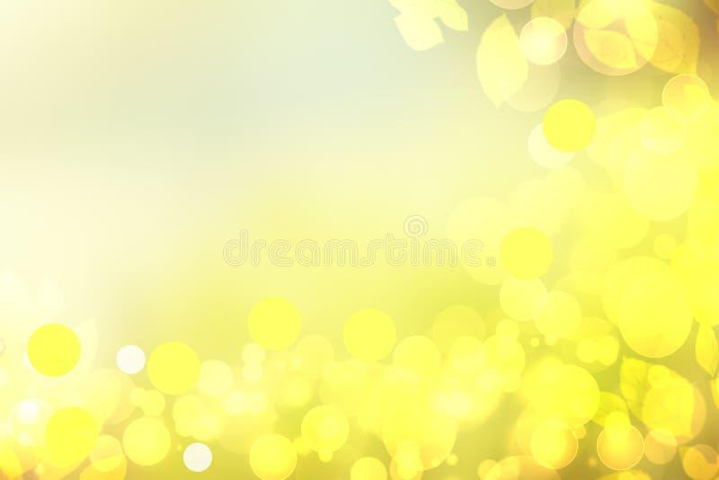 Zonnige abstracte heldere geelgroene van de bokehherfst textuur als achtergrond met bladeren Ruimte voor uw ontwerp Mooie geel vector illustratie