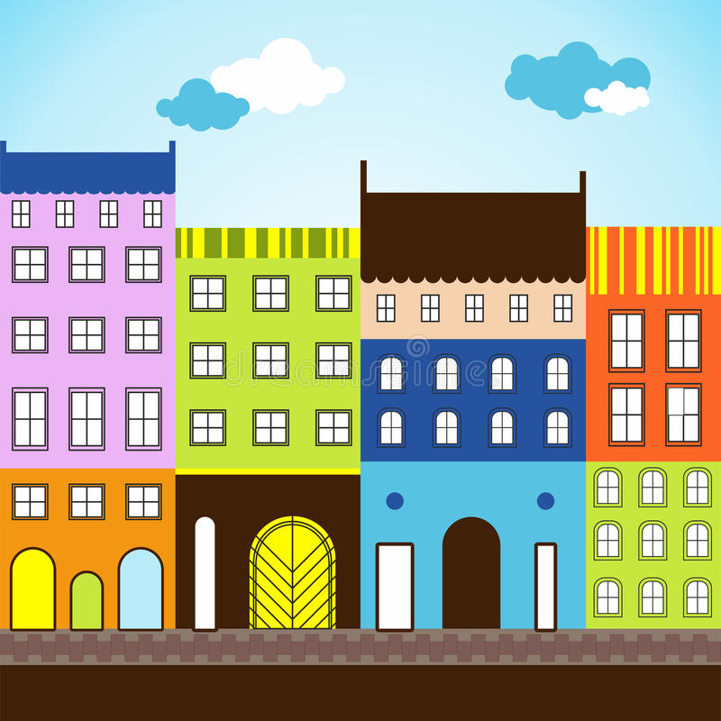 Zonnige dag in gekleurde stad stock foto's