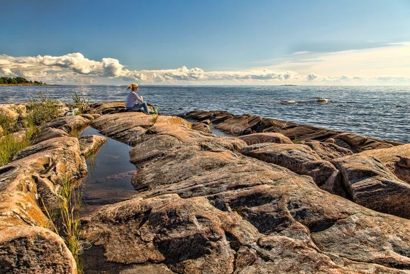 Zonnige dag in Karlstad Zweden stock foto's
