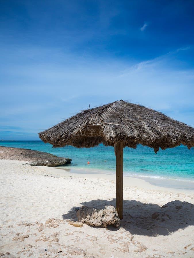Zonnige dag op een strand van Aruba stock afbeelding