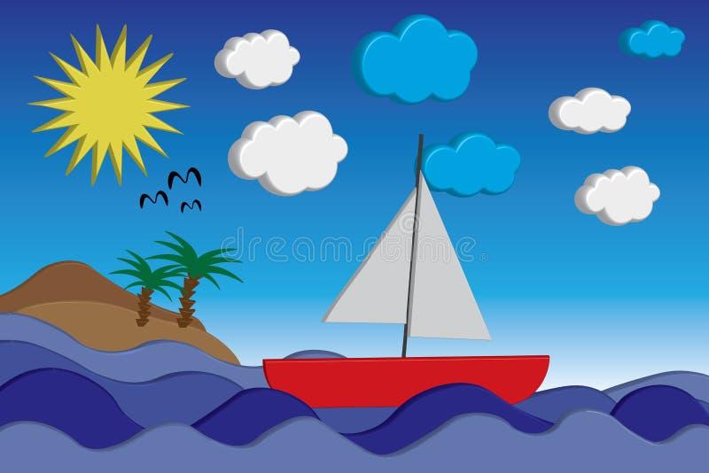 Zonnige dag op zee stock illustratie