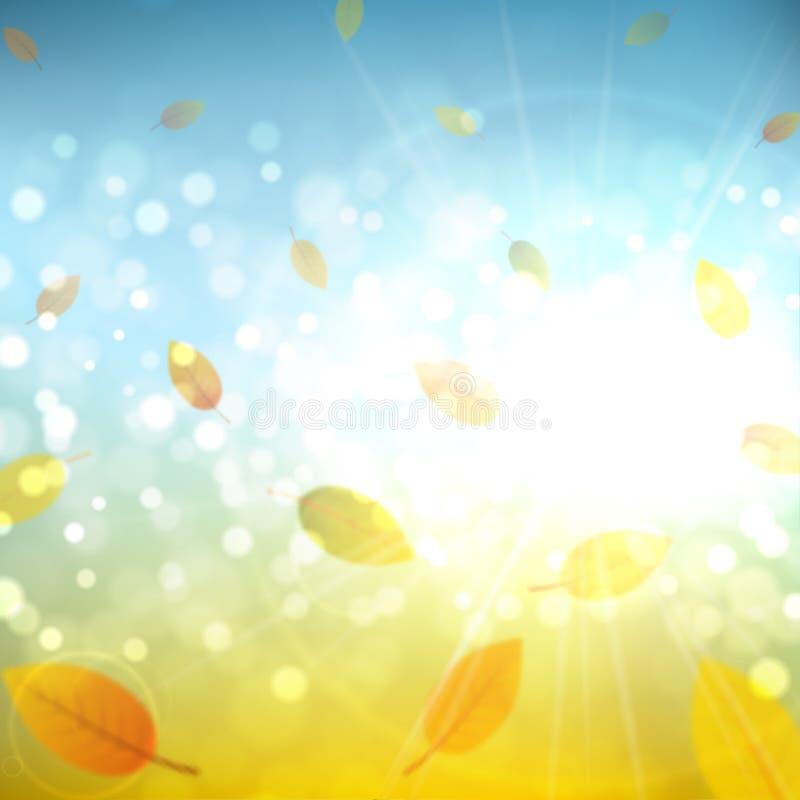 Zonnige de herfst abstracte achtergrond met bladeren vector illustratie