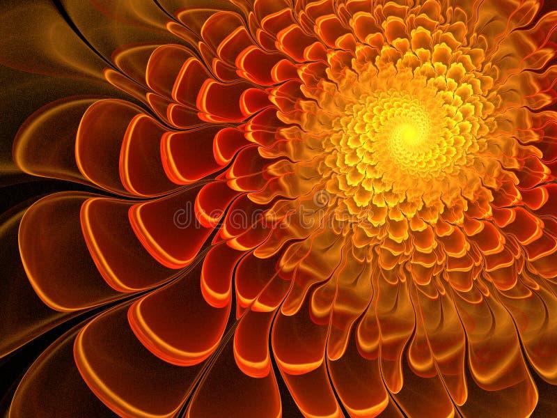 Zonnige fractal bloem vector illustratie