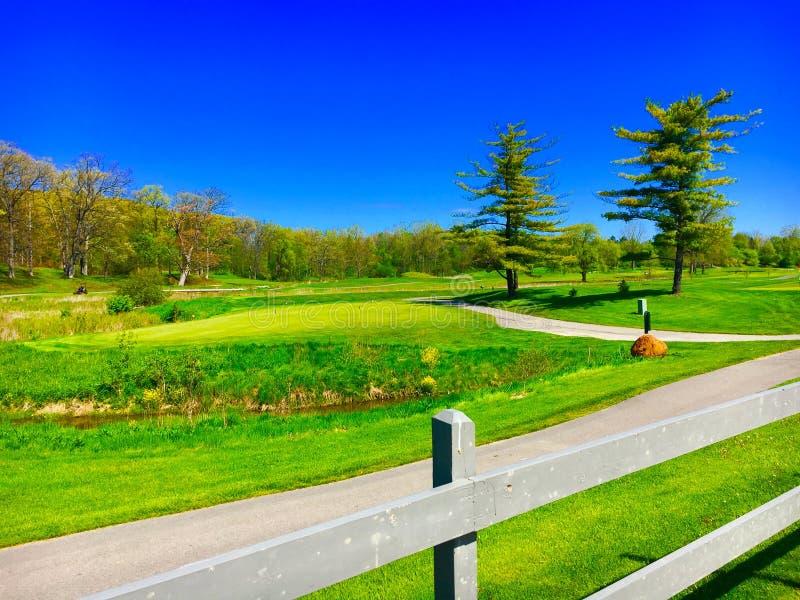 Zonnige golfcursus royalty-vrije stock fotografie