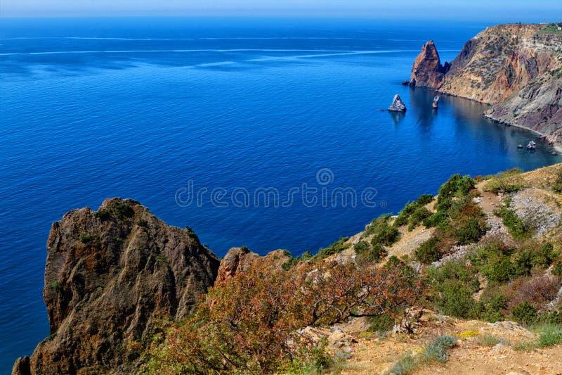 Zonnige mening van de Zwarte Zee stock foto's