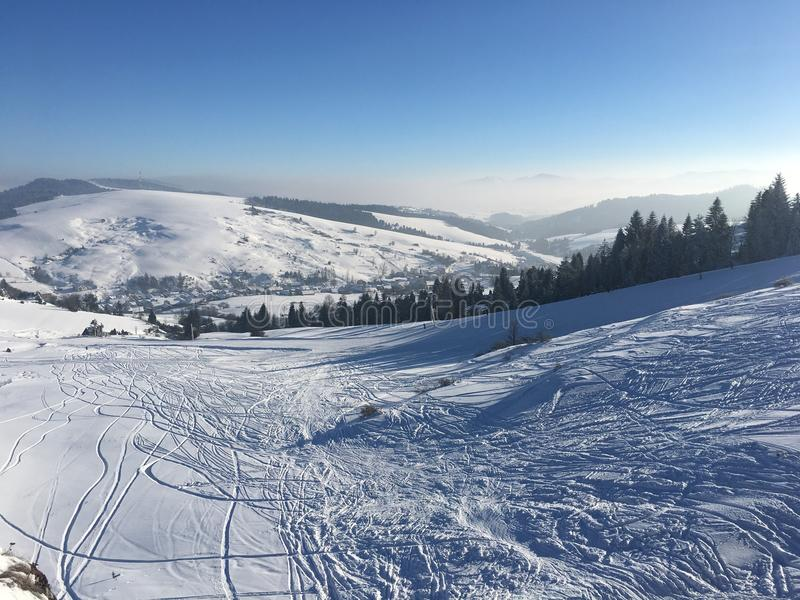 Zonnige sneeuw stock foto's