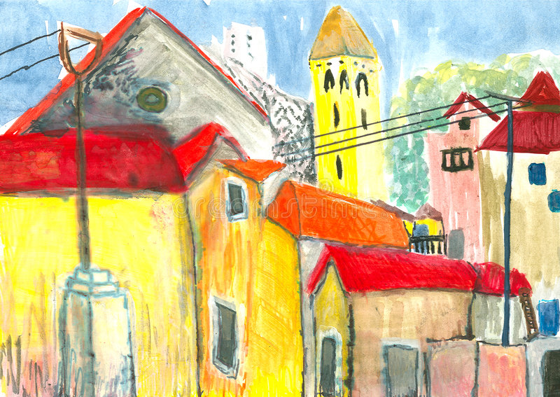 Zonnige stad stock afbeelding