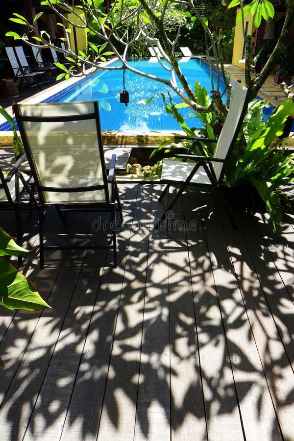 Zonnige tropische poolkant stock foto's