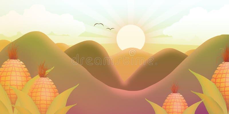 Zonnige zonsondergang tussen bergen en graan stock illustratie