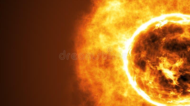 Zonoppervlakte met zonnegloed Vat wetenschappelijke achtergrond samen royalty-vrije stock foto