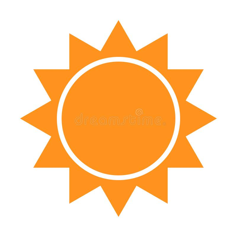 Zonpictogram met stralen Vectorillustratie van een embleem en een symbool van het weervoorspellings Duidelijk weer stock illustratie