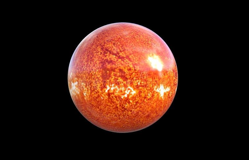 Zonplaneet in de ruimte op zwarte achtergrond, het 3d teruggeven wordt geïsoleerd die stock illustratie