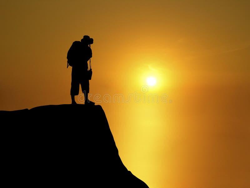 Zonsondergang 1 van Backpacker royalty-vrije stock foto's
