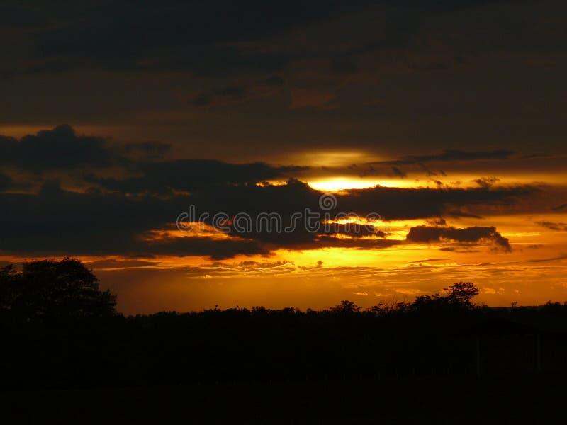 Zonsondergang aan de kant van het land in Oostenrijk stock foto's