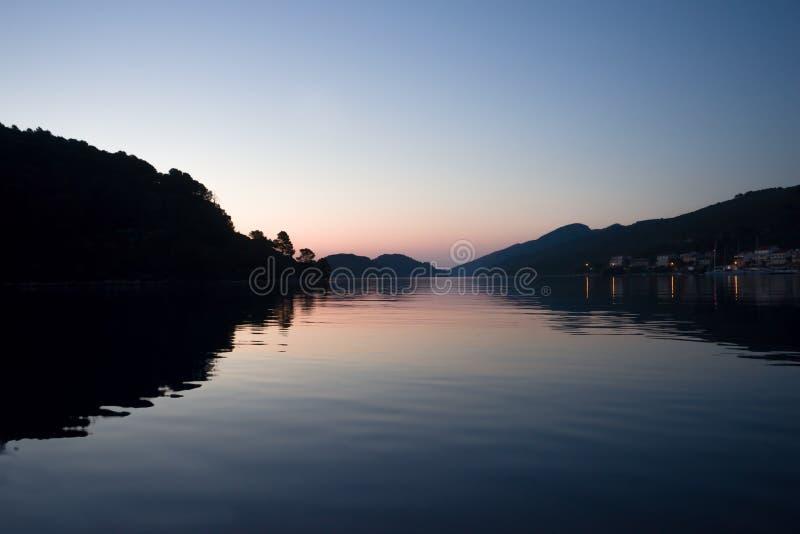 Zonsondergang in Adriatic royalty-vrije stock afbeelding