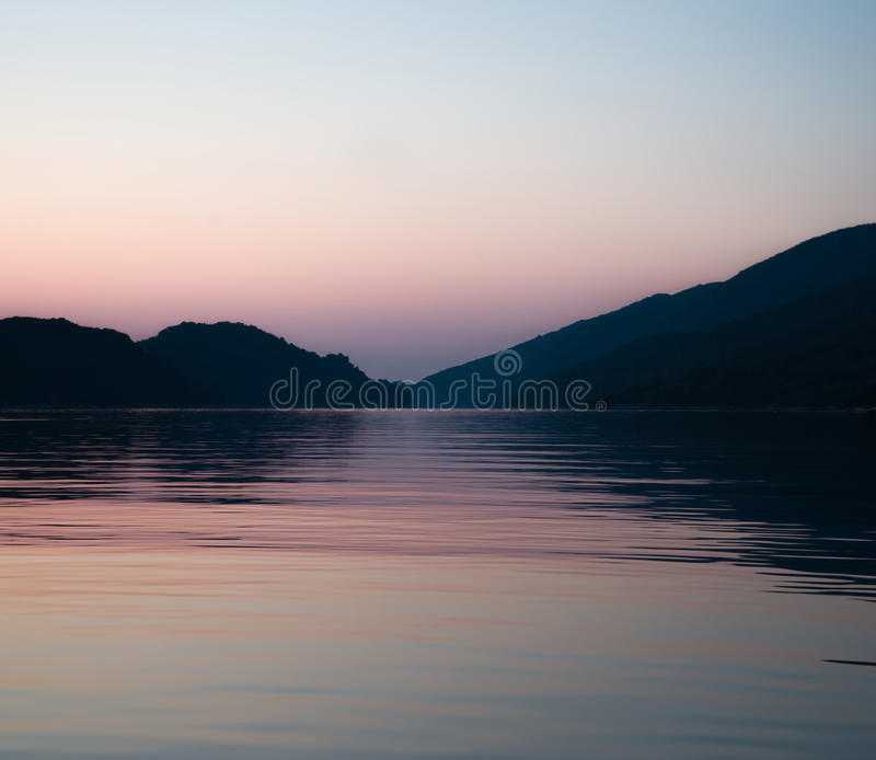 Zonsondergang in Adriatic royalty-vrije stock afbeeldingen