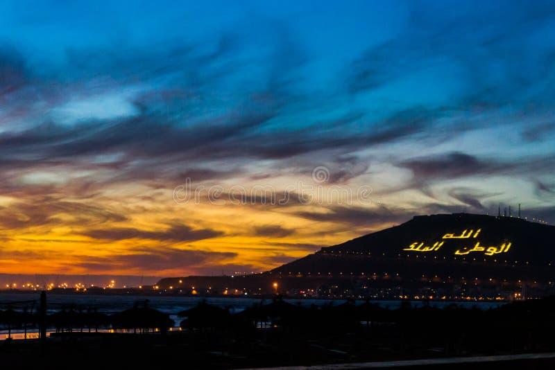 Zonsondergang in Agadir royalty-vrije stock fotografie
