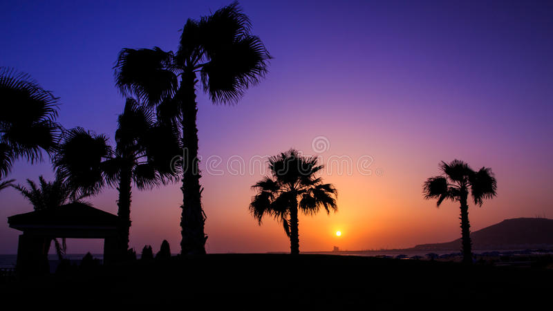 Zonsondergang in Agadir, Marokko stock fotografie