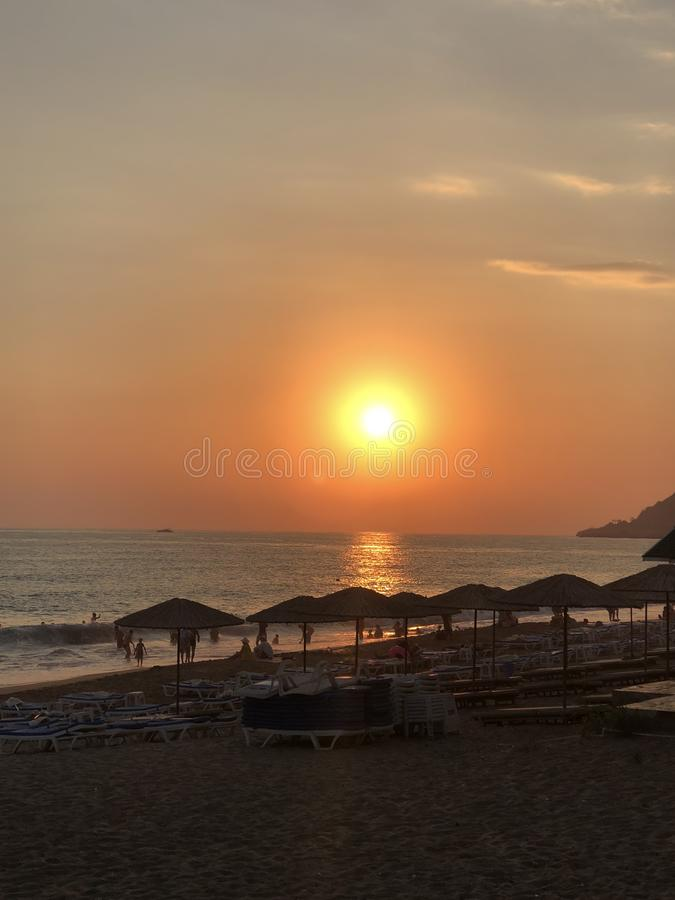 Zonsondergang in Alanya royalty-vrije stock foto's