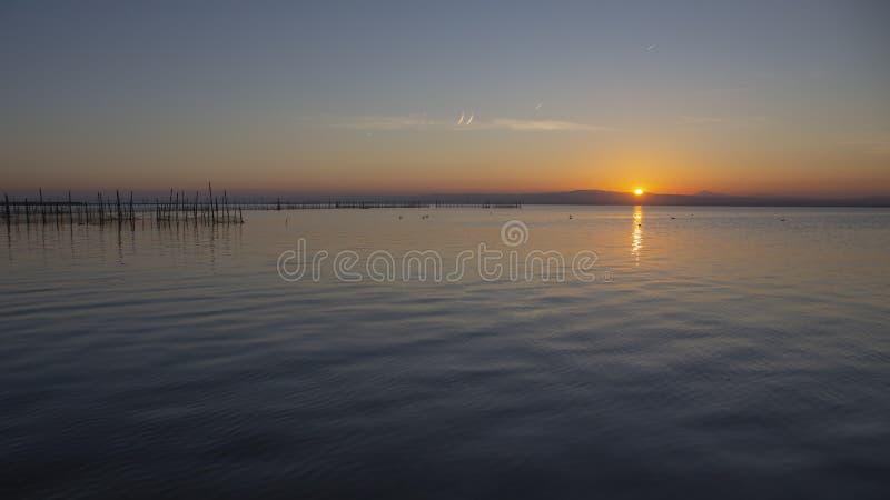 Zonsondergang in Albufera van Valencia royalty-vrije stock afbeelding