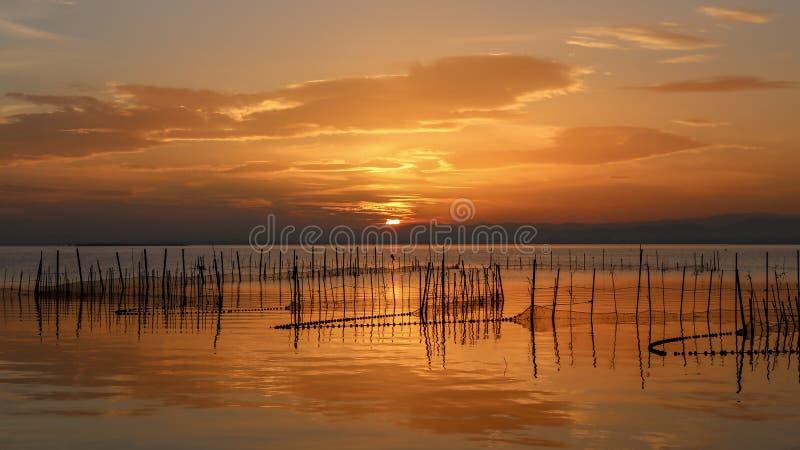 Zonsondergang in Albufera van Valencia royalty-vrije stock afbeeldingen