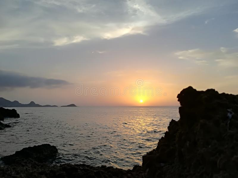 Zonsondergang in Algerije jijle stock fotografie