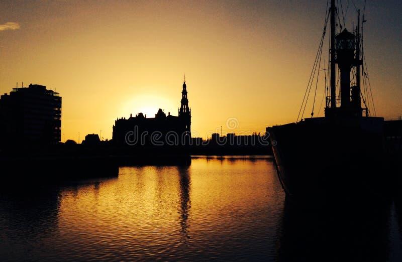 Zonsondergang Antwerpen royalty-vrije stock afbeelding