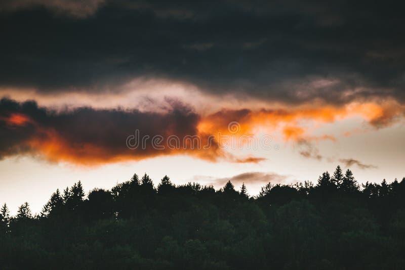 Zonsondergang in Apuseni stock afbeelding