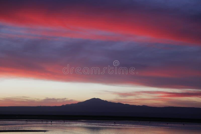 Zonsondergang in Atacama-Woestijn, Chili stock foto's