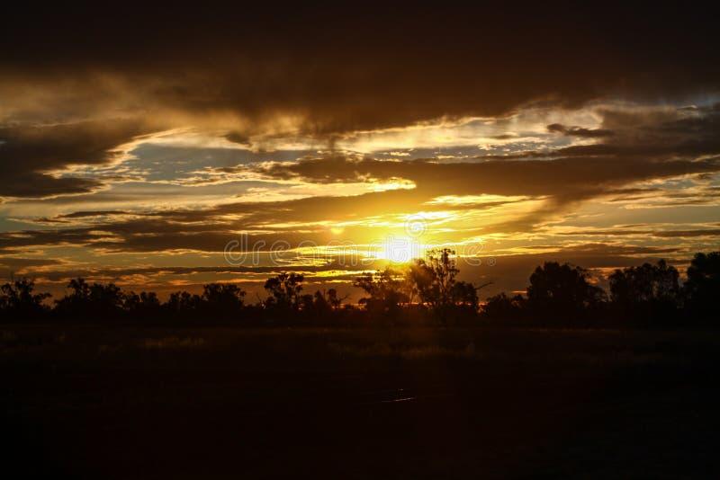 Zonsondergang in Australië royalty-vrije stock afbeelding