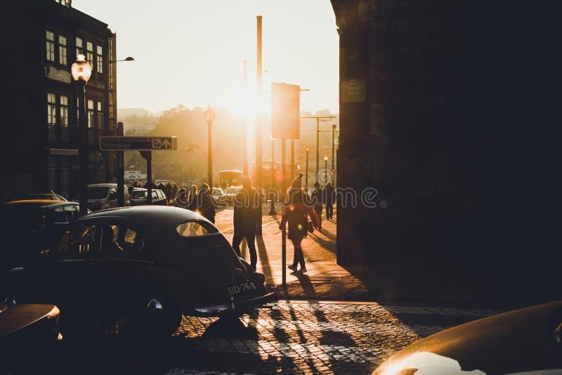 Zonsondergang avond Stad stock afbeelding