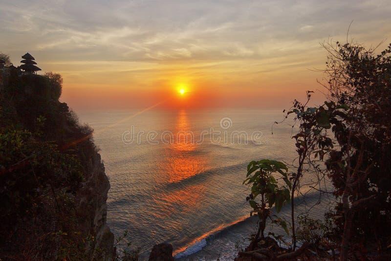 Zonsondergang in Bali stock fotografie