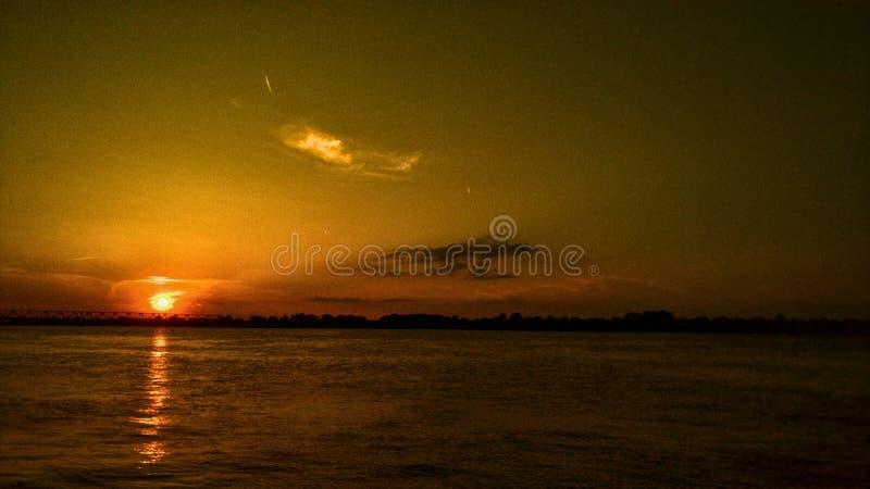 Zonsondergang in Belgrado royalty-vrije stock fotografie