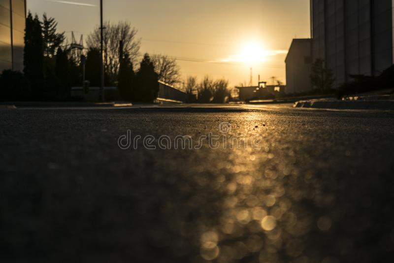 Zonsondergang in Belgrado royalty-vrije stock afbeelding