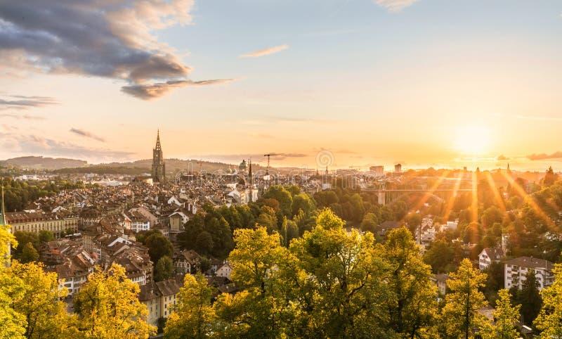 Zonsondergang in Bern royalty-vrije stock afbeeldingen
