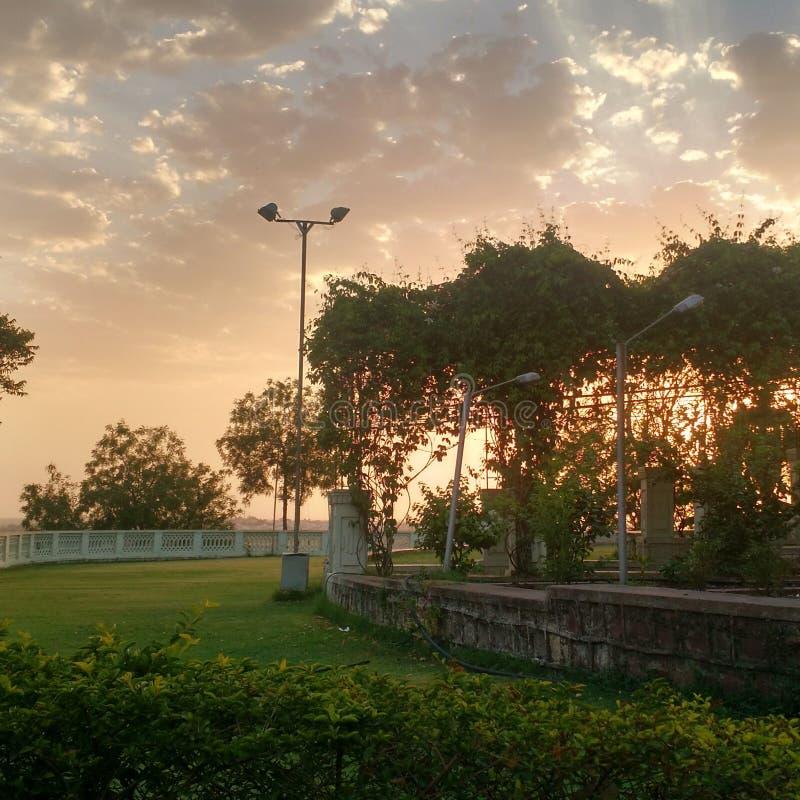 Zonsondergang in bhopal, madhya pradesh stock foto's
