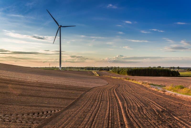Zonsondergang bij bruin gebied, blauwe hemel en windturbine, Polen stock fotografie