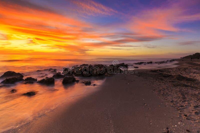 Zonsondergang bij Casperson-Strand royalty-vrije stock fotografie